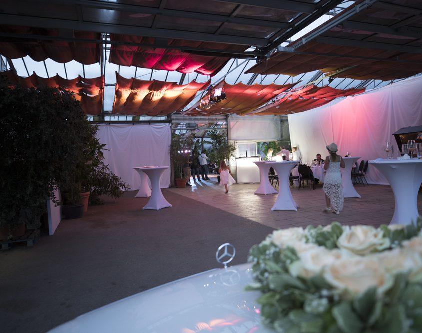 Galerie - Brautwagen und Eingang - Palmenhaus München